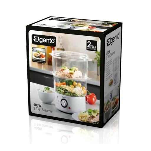 Elgento E21002 2-Tier Steam Cooker 4.8 Litre 400 Watt White