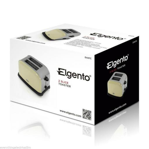 Elgento E447C 2 Slice Toaster Cream Great Kitchen Essential Retro Chic Design