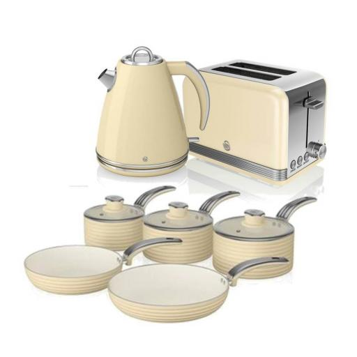 Swan 3 Piece Retro Cream Kitchen Set Kettle, Toaster, and Pan Set