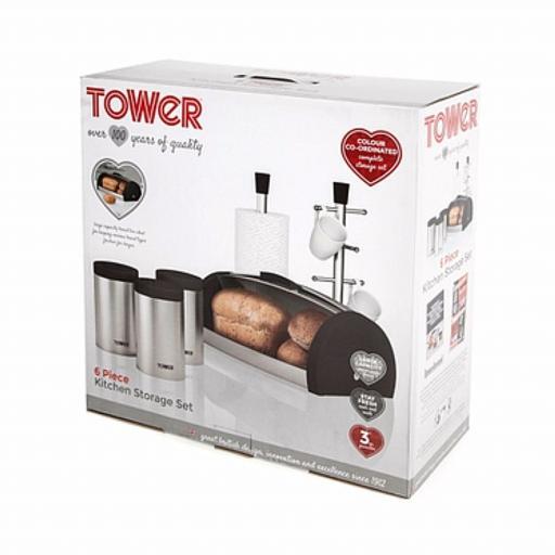 Tower IDT81204 6 Piece Kitchen Storage Set Charcoal