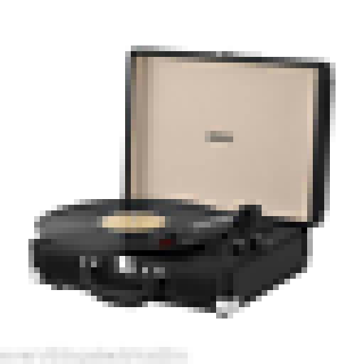 Akai A60011N Bluetooth Rechargeable Turntable and Case Black