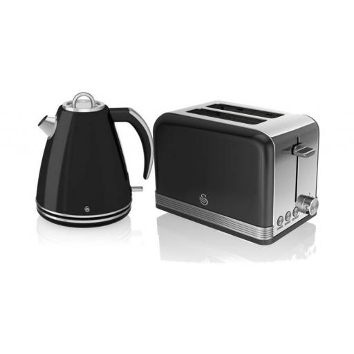 Swan Black Retro Jug Kettle & 2 Slice Toaster Set
