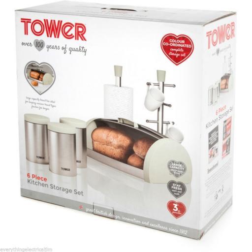 Tower IDT81200 6 Piece Kitchen Storage Set Almond